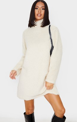No Name Noname Cream Borg High Neck Oversized Jumper Dress