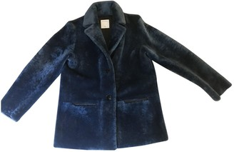 Sandro Fall Winter 2018 Blue Leather Coat for Women