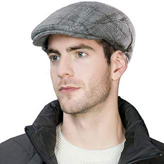 Jeff & Aimy Winter Plaid Ivy Flat Cap with Ear Flaps Newsboy Driver Hat Hunting Trapper Hats 58 Grey