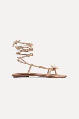 Loeffler Randall Shelly Embellished Braided Metallic Leather Sandals - Gold