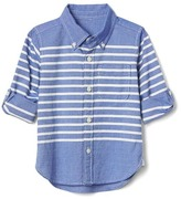 Stripe oxford convertible shirt