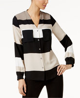 Alfani V-Neck Striped Blouse, Only at Macy's