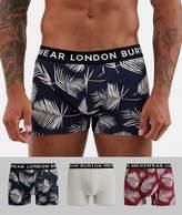 Burton Menswear trunks with leaf design 3 pack