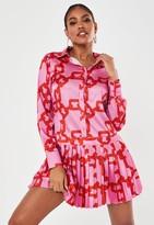 Missguided Pink Satin Chain Print Pleated Shirt Dress