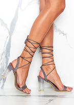 Missy Empire Mikalaya Grey Suede Open Toe Lace Up Heels
