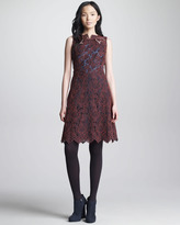 Carven Oxford-Back Lace Dress, Bordeaux