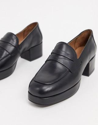 ASOS DESIGN Maximise premium leather platform loafers in black