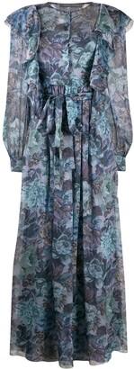 Alberta Ferretti Floral-Print Ruffled Maxi Dress