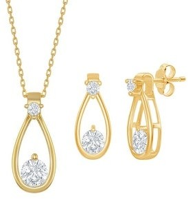La Preciosa 925 Sterling Silver/18kGold Plated Cubic Zirconia Pear-Shape Bridal Engagement 18?? Necklace and Earrings Set