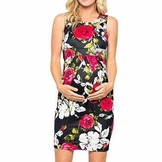So Buts Maternity Dress SO-buts Women Pregnant Nursing Breastfeeding Bodycon Sexy Floral Sleeveless Sling Midi Maternity Dress (Red L)