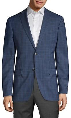 John Varvatos Plaid Modern-Fit Wool Sportcoat