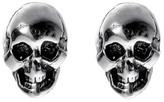 Journee Collection Women's Sterling Silver Skull Stud Earrings - Silver