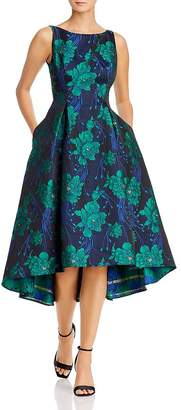 Adrianna Papell Charmed Floral Jacquard High/Low Dress