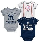 MLB New York Yankees Boys' 3pk Bodysuit Crawlers