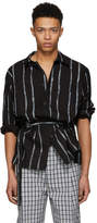 3.1 Phillip Lim Black Oversized Painted Stripes Painters Shirt