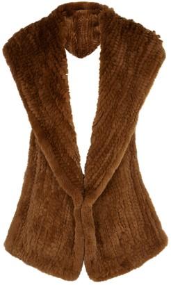Yves Salomon Brown hooded fur scarf