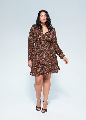 MANGO Violeta BY Floral shirt dress black - 10 - Plus sizes