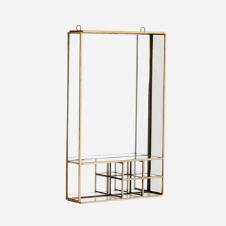 Madam Stoltz - Brass Wall Mirror with Compartments - Gold/Silver/Glass