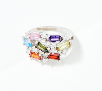 Diamonique Rainbow Scattered Baguette Ring, Sterling Silver