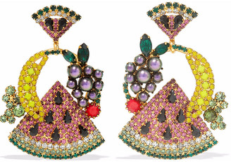 Elizabeth Cole 24-karat Gold-plated, Swarovski Crystal And Faux Pearl Earrings