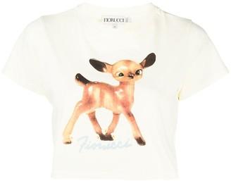 Fiorucci Deer-print crop T-shirt