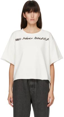 MM6 MAISON MARGIELA Off-White Logo Cropped T-Shirt