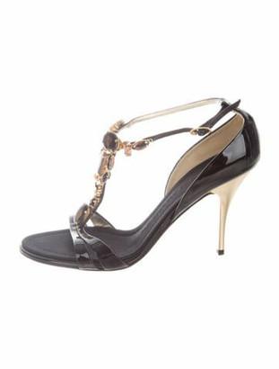 Giuseppe Zanotti Patent Leather Crystal Embellishments T-Strap Sandals Black
