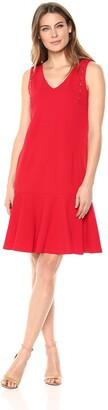 Ellen Tracy Women's Sleeveless Dress with Flouncy Hem