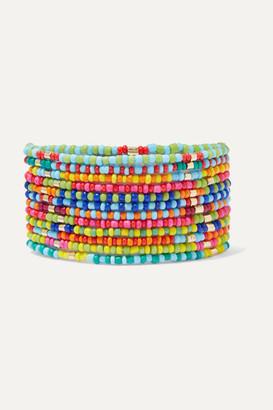 Roxanne Assoulin Patchwork Set Of 12 Enamel And Gold-tone Bracelets - Pink