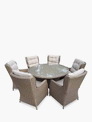 LG Electronics Outdoor Saigon 6 Seat Garden Dining Table & Chairs Set, Natural