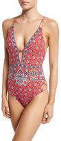 Nanette Lepore Pretty Tough Goddess Printed One-Piece Swimsuit