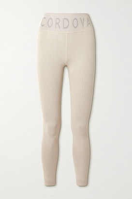 Cordova Signature Ribbed Intarsia Stretch-knit Leggings - Beige