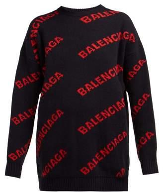 Balenciaga Logo Patterned Wool Blend Sweater - Womens - Navy Multi