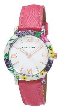 Laura Ashley Women's Band Floral Bezel Watch