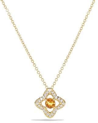 David Yurman Venetian Quatrefoil Necklace with Citrine and Diamonds in 18K Gold