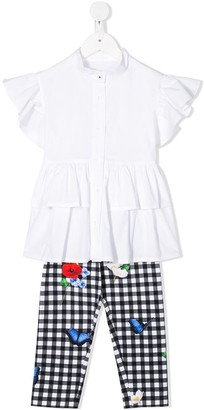 Lapin House Flared Check-Print Two-Piece Set