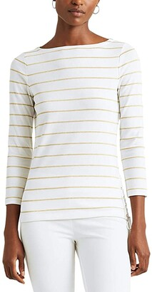Lauren Ralph Lauren Metallic Striped Cotton Boatneck Top (White/Gold Metal) Women's Clothing