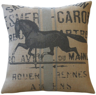"Polkadot Apple Pillows French Horse Burlap Pillow, 16""x16"""