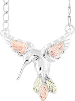 Black Hills Gold Tri-Tone Hummingbird Necklace in Sterling Silver