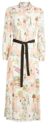 Claudie Pierlot Paris Print Silk Dress