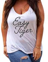 Sexyshine Women's Sleeveless Letters Printed Summer Plus Size Top Tank Shirt