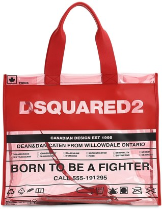 DSQUARED2 PRINTED PVC & LEATHER TOTE BAG