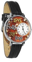 Whimsical Watches Women's U0710015 Unisex Silver Faith Hope Love Joy Black Leather And Silvertone Watch
