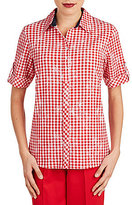 Allison Daley Roll-Tab Sleeve Gingham Print Button Front Shirt