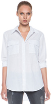 Equipment Signature Cotton Blouse in Bright White & Peacoat