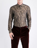 Etro Paisley-pattern regular-fit cotton and wool-blend shirt