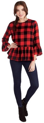 Mud Pie Women's Red Buffalo Check Flora Flounce Top Individual Sizes Large