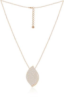 SUTRA 18K Rose Gold Diamond Pave Lotus Leaf Necklace