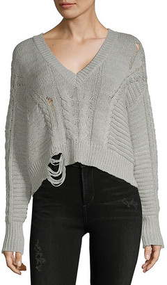 Wildfox Couture Distressed Cable-Knit Sweater