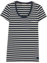 Burberry Striped Cotton-jersey T-shirt - Midnight blue